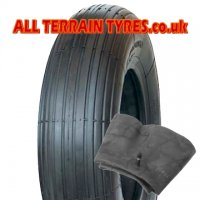 4.00-4 4 Ply Duro HF207 Multirib Wheelbarrow Tyre & Inner Tube